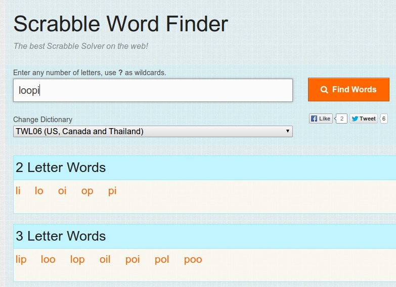 Scrabble Word Finder - A simple scrabble solver