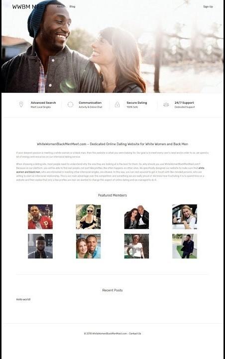 Dating sito Web interrazziale